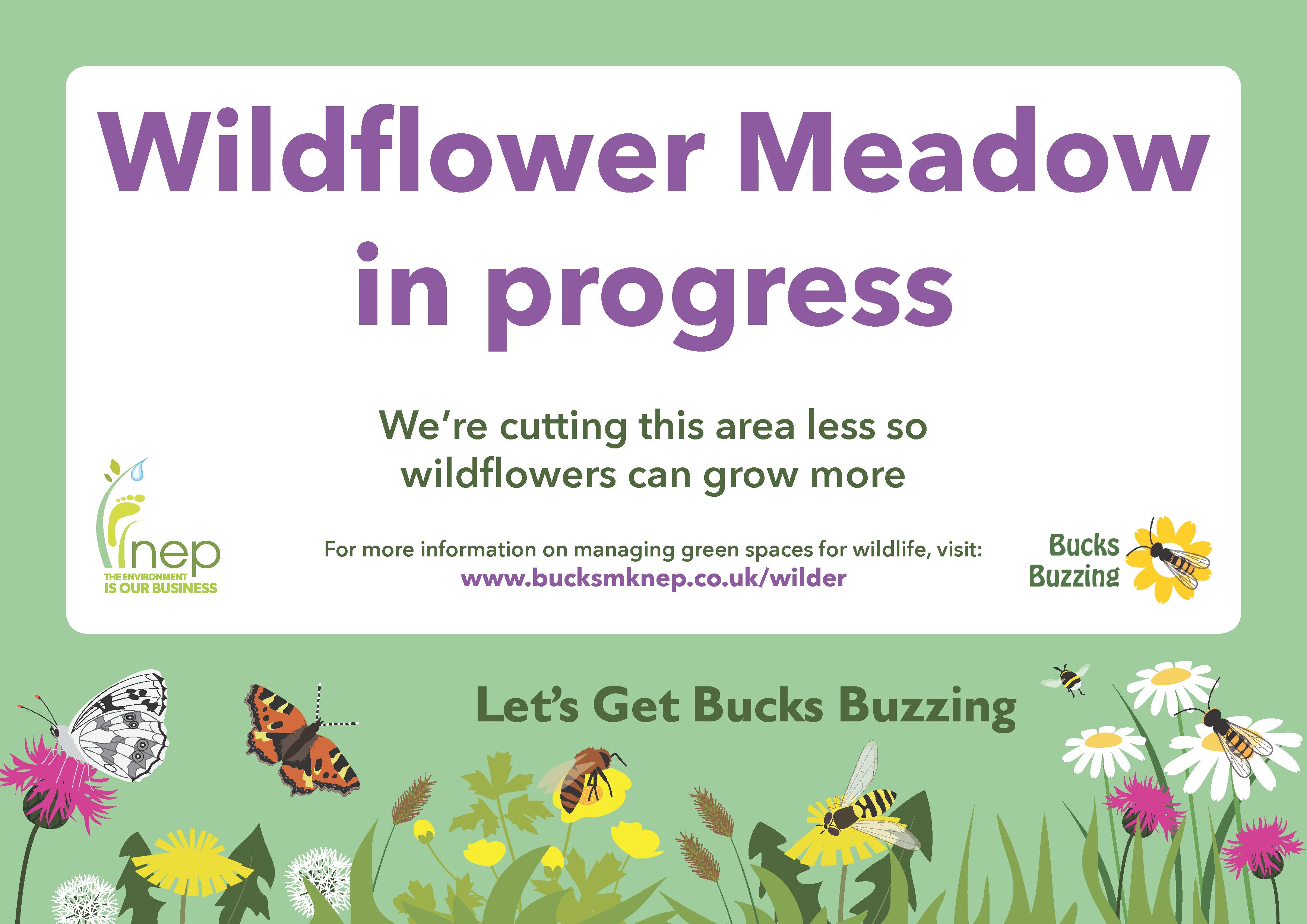 Wildflower Meadow in progress sign